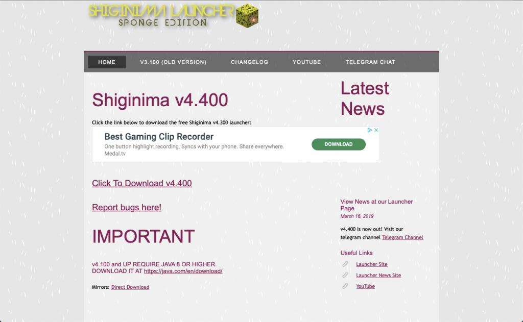 Istantanea schermata del sito Shiginima  da cui potrete scaricare il launcher